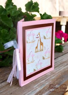 """""""Giraffe Love"""" birthday invitations with a lace and ribbon binding in theme of the zoo they were going to be celebrating at!"""