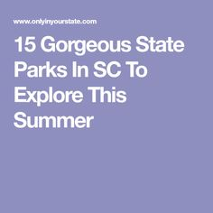 15 Gorgeous State Parks In SC To Explore This Summer