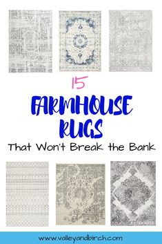 15 Farmhouse Rugs – That Won't Break the Bank – Great options for neutral farmhouse or vintage style rugs for your home. Lots of budget friendly options. Rugs that are grey, ivory, or have a hint of blue. Farm House Living Room, Farmhouse Area Rugs, Farmhouse Rugs, Inexpensive Area Rugs, Farmhouse Style Rugs, Rugs, Farmhouse Style Living Room, Area Room Rugs, Farmhouse Rugs Living Room