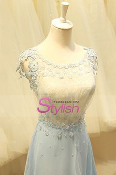 2015 Lace Bodice Scoop A Line Prom Dresses Chiffon With Applique USD 159.99 STPDE8G4HY - StylishPromDress.com