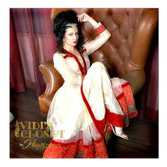 White Anarkali with red border
