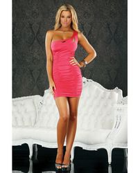 Ruched Side Shoulder Dress Coral Sm For 40.50@ www.globalseduction.com