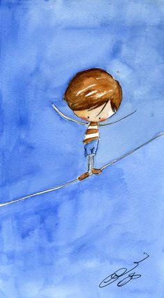 By Aris on Aris-blog Little Boy Drawing, Boy Illustration, Mini Canvas Art, Whimsical Art, Anime Art Girl, Love Art, Cute Drawings, Watercolor Paintings, Creations