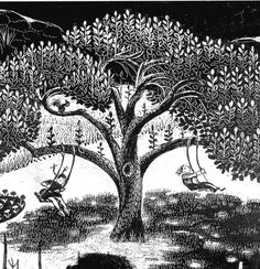 a scratch board illustration of the Swing Tree from Virginia Lee Burton's home in Folly Cove, Gloucester, Massachusetts.