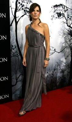 Sandra Bullock One Shoulder Dress - Sandra is a Grecian goddess in this one shoulder chiffon dress.