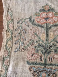 19th ANTIQUE OTTOMAN-TURKISH SILK & METALLIC HAND EMBROIDERY ON LINEN PANEL 80cm