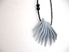 grey triangles with black beads  necklace  FREE by pergamondo, $22.00