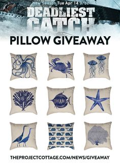 Deadliest Catch Giveaway - Enter to win the nautical watercolor pillow of your choice in honor of the Deadliest Catch Premiere.
