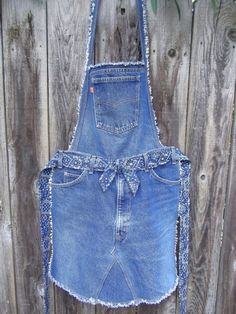 Recycled denim overall apron by JoMommasSignsNSeams by iris-flower
