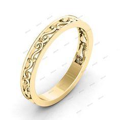 14K Yellow Gold 925 Silver Without Stone Simple Ladies Spl Wedding Band Ring #affordablebridaljewelry #WeddingBandRing #EngagementWeddingAnniversaryPromiseValentines