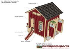 home garden plans: L102 - Chicken Coop Plans Construction - Chicken Coop Design - How To Build A Chicken Coop Building A Chicken Run, Walk In Chicken Coop, Easy Chicken Coop, Diy Chicken Coop Plans, Chicken Coop Designs, Chicken Runs, Backyard Coop, Backyard Chicken Coops, Chickens Backyard