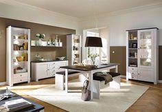 Модульная гостиная или столовая Antwerpen BRW (Польша) в цветах лиственница светлая и сосна ларико.  #мебель #BRW #гостиная #интерьер #мебельдлядома #столовая