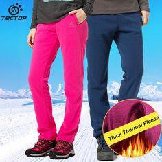 TECTOP Hiking Pants Men Women Trekking Thick Fleece Sport Polar Fleece Fabric Autumn Winter Windproof Thermal Pants