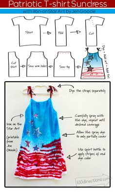 Make a Patriotic Sundress from a T-shirt - Designed by Jen Goode- plus a free printable to use with iron-on transfer sheets to decorate with!