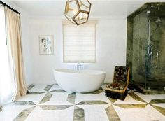 bathroom with stand alone tub, a large window with floor length curtains, tile floor and a dodecahedron light Bathroom Tile Designs, Bathroom Floor Tiles, Tile Floor, Shower Designs, Light Bathroom, Modern Bathroom, Bathroom Ideas, Shower Ideas, Interior Decorating Tips