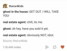 Haha, that's interesting..I just think like a scam artist's house and the ghost still lives there. Then a Realestate agent and the ghost team up to scam people for their money...