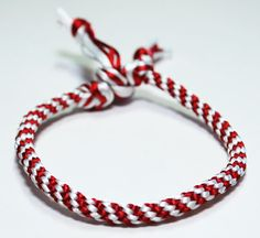 Kumihimo Bracelet Red & White OR Custom Color You Personalize Choose Satin Cord Jewelry
