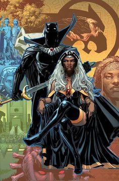 Black Panther and Storm by Phil Jimenez and the color by Marte Gracia  #PhilJimenez #MarteGarcia #BlackPanther #Storm #Avengers #XMen #T'Challa  #Wakanda #Illuminati #OroroMunroe #Morlocks