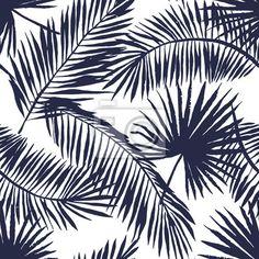 Papier peint Palm feuilles silhouette sur le fond blanc. Vector seamless pattern avec des plantes tropicales.
