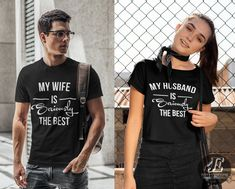 Wife Husband Shirts, Mr and Mrs, Just Married Shirt, Honeymoon Shirt, Wedding Shirt, Wife & Hubs Shirts, Just Married Shirts, Couples Shirts #mrandmrs #wife #husband #wifey #hubby #mr #mrs #justmarried #coupleshirt #matchingshirts #couplesoutfit #matchingoutfit Matching Shirts, Matching Outfits, Christmas Shirts, Ugly Christmas Sweater, Personalized Makeup Bags, Wedding Shirts, My Wife Is, Couple Shirts, Just Married