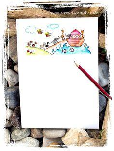 Arche Noah - Briefpapier und Karte - kostenlos ausdrucken: http://kreativ-zauber.de/arche-noah-briefpapier-karte