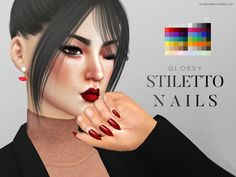 Glossy nails for ladies in 65 colors.  Found in TSR Category 'Sims 4 Female…