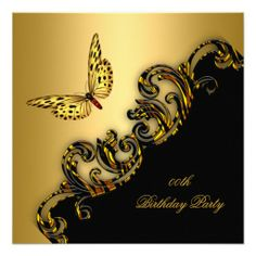 Exotic Gold Black Butterfly Birthday Party Custom Invitations