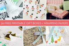 30 Free Holiday Wrapping Paper and Gift Box Printables