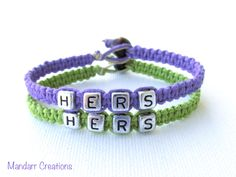 Hers and Hers Bracelets for LGBT Couples, Lime Green and Lavender Purple Handmade Hemp Jewelry - pinned by pin4etsy.com