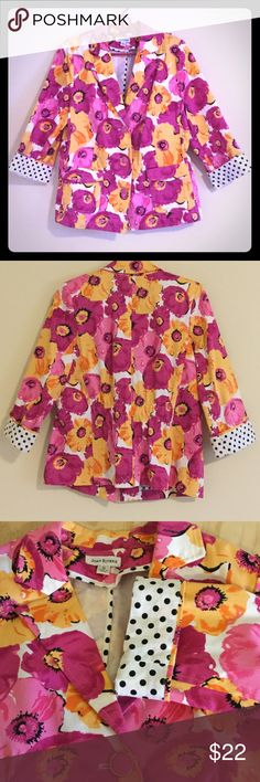 Womens Joan Rivers size 10 blazer Womens Joan Rivers size 10 pink and orange blazer with removable shoulder pads and a cinched back waist. Pink and Yellow are the IT colors this Spring and the polka dot cuffs can be rolled down for extended length. Joan Rivers Jackets & Coats Blazers