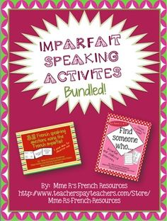 Are you teaching the imparfait? Are your kids discussing their childhood activities? If so, you will LOVE these quick, easy-to use speaking activities for your French class. There is NO PREP for you, because they include the printable speaking activity and a printable vocabulary page that you can use to teach along with your lessons, as a beginning vocabulary unit, or as enrichment for those who learn very fast!In this bundle you will get 2 of my imparfait speaking activities from my…
