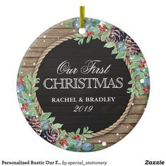 Shop Personalized Rustic Our First Christmas Winter Ceramic Ornament created by special_stationery. Personalize it with photos & text or purchase as is! Our First Christmas Ornament, Christmas Pine Cones, Rustic Christmas, Christmas Wedding, Christmas Tree Ornaments, Christmas Holidays, Happy Holidays, Christmas Ideas, Chalkboard Centerpieces