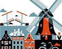 St. Petersburg freelance illustrator Xenia Bystrova created a four poster series of Berlin, Amsterdam, Helsinki and Copenhagen.