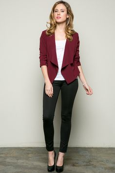 This burgundy long sleeved, draped collar blazer is great for office wear or even a casual outing. You can pair them with jeans or trousers. - 55% Cotton, 41% Polyester, 4% Spandex - Imported - Model