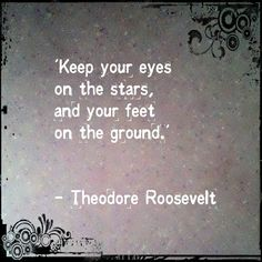 'Keep your eyes on the stars, and your feet on the ground.'  - Theodore Roosevelt