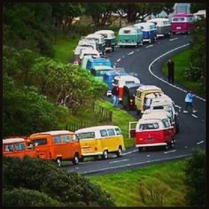 Kombi Convoy in every color! #VW #Parade....... I'm lovin every minute of it!!!!! VDub Life ❤️