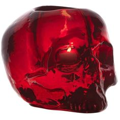 Kosta Boda Still Life Skull Votive ($55) ❤ liked on Polyvore featuring home, home decor, candles & candleholders, skulls, colored votive candles, glass votives, colored glass votives, skull home decor and red skull candle