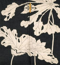 Jacket with design of lotuses [detail] Origin: JapaneseDate: Early 19th centuryMedium: Resist-dyed and painted plain-weave bast...