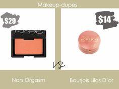 Makeup dupes: Nars Orgasm vs Bourjois Lilas D'or Skincare Dupes, Beauty Dupes, Drugstore Makeup, Makeup Tips, Blush Dupes, Coral Lipstick, Make Up Dupes