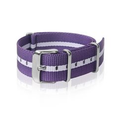Details Nato Strap Purple White Strips with stainless steel buckle. High quality, durable, water resistant Width: 1 size available ( 18 mm ) Length: 270 mm 1 mm thickness Shipping & Handling Provide I Nato Strap, White Strips, Watch Bands, Women Accessories, Stainless Steel, Belt, Purple, Lady, Water
