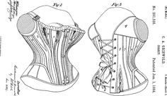 Corset patent with pattern, 1884