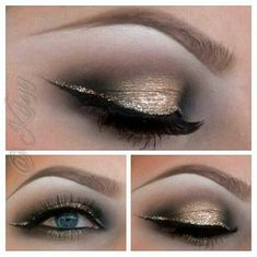 """For the lid she used """"half baked"""" wet then blended """"buck""""in the crease. added """"zero"""" on the outer and inner corners (all shadows from urban decay) on the very center of the lid she added inglot body sparkles #52 on the brows is omega from mac and then she  defined her brow with brown sephora gel liner and the glitter is loose gold glitter that she glued on with eyelash glue and the black liner is the Tarte gel liner"""