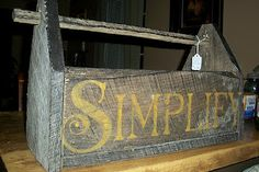 """Barnwood Recycled into an """"old"""" toolbox. Well, the wood is really old. :-) from Booth #555"""