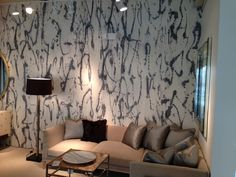"Porter Teleo wallpaper pattern, ""Fluidity"" in ""Gris""."