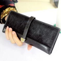 Genuine Leather Women Wallets Fashion Horse Hair Leopard Long Purses And Handbags Coin Purse Clutch Bag Card Holder Carteras