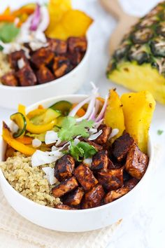 One bite into these Hawaiian BBQ Tofu Bowls will have you dreaming of the beach. Quinoa & vegetables are the perfect base for juicy pineapple & tangy tofu!