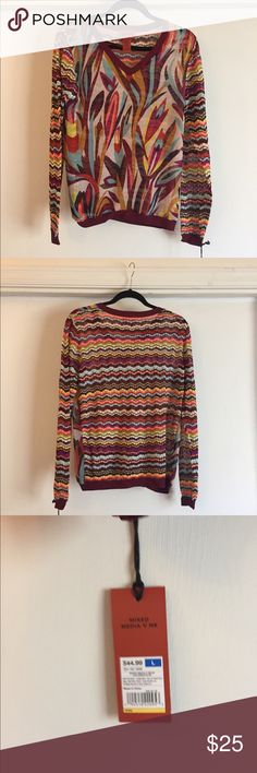 Mission for Target V Neck Sweater Sz L Brand new, never worn, nwt, Missoni for Target long sleeve v-neck sweater. Front is in see thru floral chiffon material, back and sleeves in multi-colored striped knit. Size large. Missoni Sweaters V-Necks