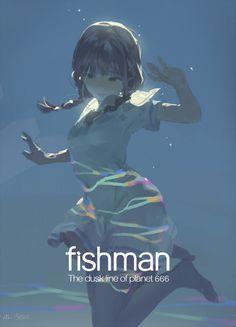 """fishman ""make it beautiful"""" Art And Illustration, Character Illustration, Fantasy Kunst, Fantasy Art, Anime Art Girl, Manga Art, Pretty Art, Cute Art, Drawn Art"