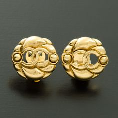 #Chanel gold tone clip-on #earrings. Available at lxrco.com for $249