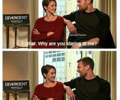 my stuff divergent shailene woodley theo james SHEO please do interviews together for the rest of your lives Divergent Fandom, Divergent Trilogy, Divergent Insurgent Allegiant, Tfios, Divergent Funny, Tris Et Tobias, Tris And Four, John Green Books, Thing 1